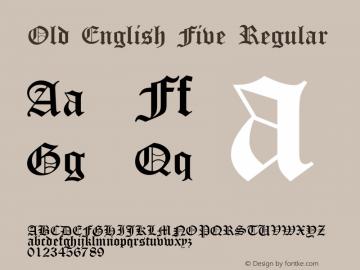 Old English Five Regular 1.56 Font Sample