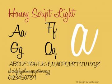 Honey Script Light Version 001.007 Font Sample