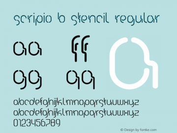 Scripio B Stencil Regular Version 1.00 2003 initial release图片样张