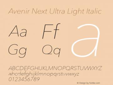 Avenir Next Ultra Light Italic 8.0d5e6图片样张