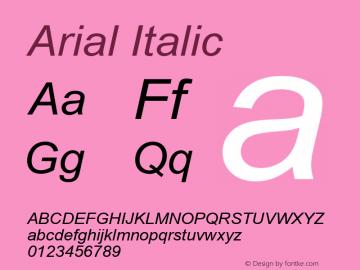 Arial Italic MS core font:V1.00图片样张