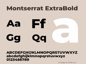 Montserrat ExtraBold Version 7.200图片样张