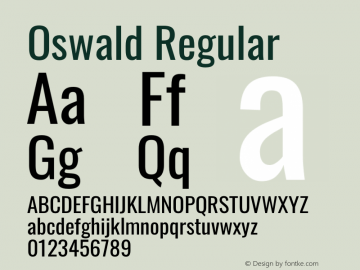 Oswald Regular Version 4.100; ttfautohint (v1.8.1.43-b0c9)图片样张