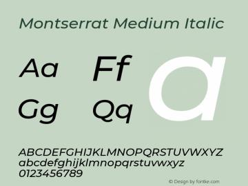 Montserrat Medium Italic Version 7.200图片样张