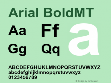Arial BoldMT Version 001.000图片样张