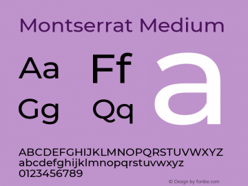 Montserrat Medium Version 7.200图片样张
