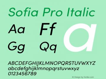 Sofia Pro Regular italic Version 4.0 Font Sample