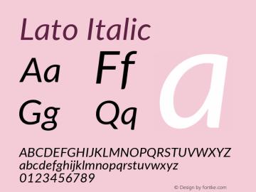 Lato Italic Version 2.010; 2014-09-01; http://www.latofonts.com/图片样张