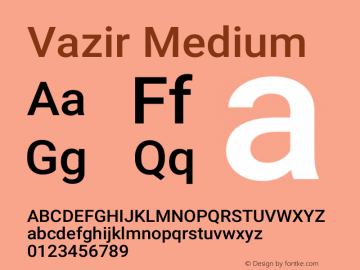 Vazir Medium Version 27.0.1图片样张