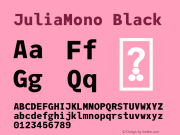 JuliaMono Black Version 0.033; ttfautohint (v1.8)图片样张