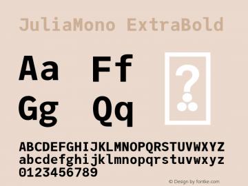 JuliaMono ExtraBold Version 0.033; ttfautohint (v1.8)图片样张