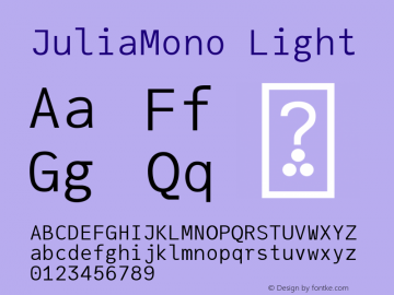 JuliaMono Light Version 0.033; ttfautohint (v1.8)图片样张