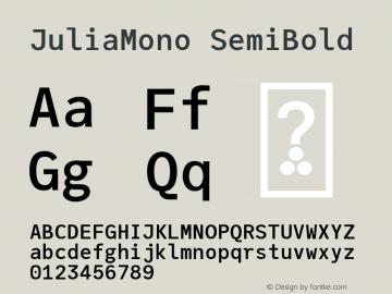 JuliaMono SemiBold Version 0.033; ttfautohint (v1.8)图片样张