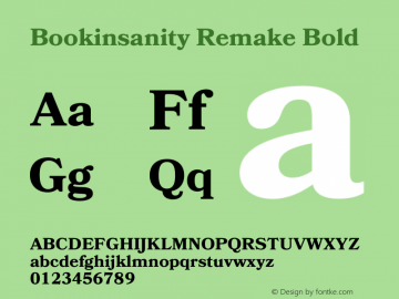 Bookinsanity Remake Bold Version 1.010;Fontself Maker 2.0.4图片样张