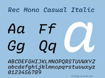 Rec Mono Casual Italic Version 1.074图片样张
