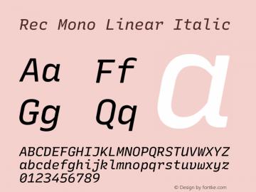 Rec Mono Linear Italic Version 1.074图片样张