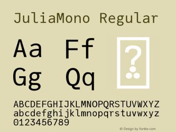 JuliaMono Regular Version 0.034; ttfautohint (v1.8)图片样张