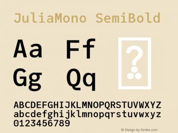 JuliaMono SemiBold Version 0.034; ttfautohint (v1.8)图片样张