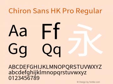 Chiron Sans HK Pro Version 1.000;hotconv 1.0.109;makeotfexe 2.5.65596图片样张