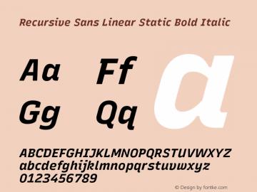 Recursive Sn Lnr St Bold Italic Version 1.075;hotconv 1.0.112;makeotfexe 2.5.65598图片样张