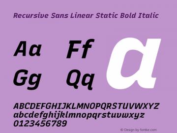 Recursive Sn Lnr St Bold Italic Version 1.075;hotconv 1.0.112;makeotfexe 2.5.65598; ttfautohint (v1.8.3)图片样张