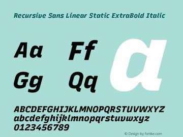 Recursive Sn Lnr St XBd Italic Version 1.075;hotconv 1.0.112;makeotfexe 2.5.65598图片样张