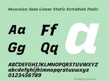 Recursive Sn Lnr St XBd Italic Version 1.075;hotconv 1.0.112;makeotfexe 2.5.65598; ttfautohint (v1.8.3)图片样张