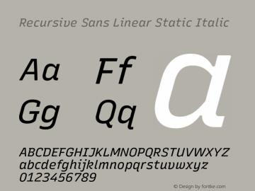 Recursive Sn Lnr St Italic Version 1.075;hotconv 1.0.112;makeotfexe 2.5.65598图片样张