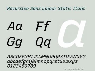 Recursive Sn Lnr St Italic Version 1.075;hotconv 1.0.112;makeotfexe 2.5.65598; ttfautohint (v1.8.3)图片样张