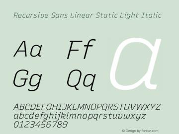 Recursive Sn Lnr St Lt Italic Version 1.075;hotconv 1.0.112;makeotfexe 2.5.65598图片样张