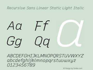 Recursive Sn Lnr St Lt Italic Version 1.075;hotconv 1.0.112;makeotfexe 2.5.65598; ttfautohint (v1.8.3)图片样张