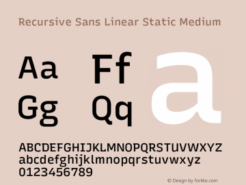Recursive Sn Lnr St Med Version 1.075;hotconv 1.0.112;makeotfexe 2.5.65598图片样张