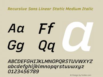 Recursive Sn Lnr St Med Italic Version 1.075;hotconv 1.0.112;makeotfexe 2.5.65598; ttfautohint (v1.8.3)图片样张