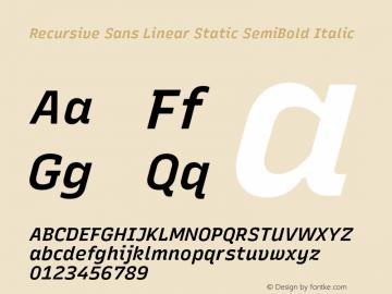 Recursive Sn Lnr St SmB Italic Version 1.075;hotconv 1.0.112;makeotfexe 2.5.65598图片样张