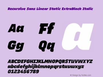 Recursive Sn Lnr St XBk Italic Version 1.075;hotconv 1.0.112;makeotfexe 2.5.65598; ttfautohint (v1.8.3)图片样张