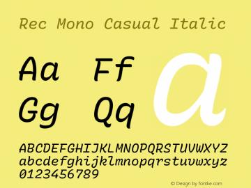 Rec Mono Casual Italic Version 1.075图片样张