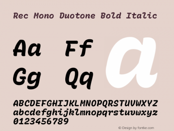 Rec Mono Duotone Bold Italic Version 1.075图片样张