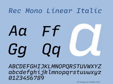 Rec Mono Linear Italic Version 1.075图片样张