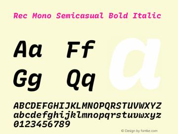 Rec Mono Semicasual Bold Italic Version 1.075图片样张