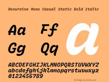 Recursive Mn Csl St Bold Italic Version 1.077;hotconv 1.0.112;makeotfexe 2.5.65598图片样张