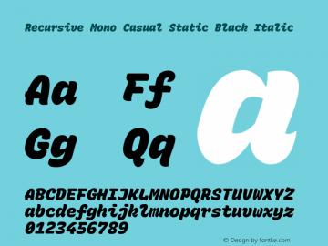 Recursive Mn Csl St Blk Italic Version 1.077;hotconv 1.0.112;makeotfexe 2.5.65598图片样张