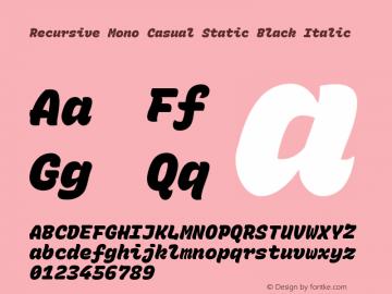 Recursive Mn Csl St Blk Italic Version 1.077;hotconv 1.0.112;makeotfexe 2.5.65598; ttfautohint (v1.8.3)图片样张