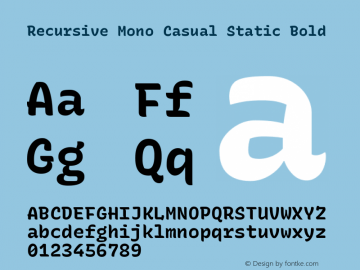 Recursive Mn Csl St Bold Version 1.077;hotconv 1.0.112;makeotfexe 2.5.65598; ttfautohint (v1.8.3)图片样张