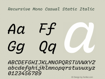 Recursive Mn Csl St Italic Version 1.077;hotconv 1.0.112;makeotfexe 2.5.65598; ttfautohint (v1.8.3)图片样张