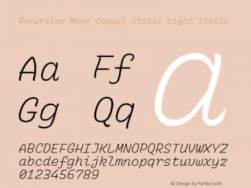 Recursive Mn Csl St Lt Italic Version 1.077;hotconv 1.0.112;makeotfexe 2.5.65598; ttfautohint (v1.8.3)图片样张