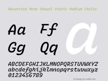 Recursive Mn Csl St Med Italic Version 1.077;hotconv 1.0.112;makeotfexe 2.5.65598图片样张