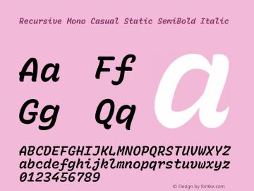 Recursive Mn Csl St SmB Italic Version 1.077;hotconv 1.0.112;makeotfexe 2.5.65598图片样张