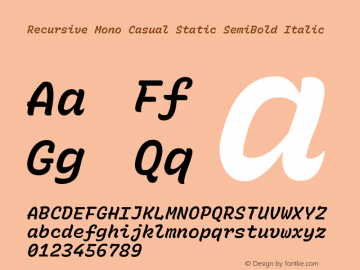 Recursive Mn Csl St SmB Italic Version 1.077;hotconv 1.0.112;makeotfexe 2.5.65598; ttfautohint (v1.8.3)图片样张