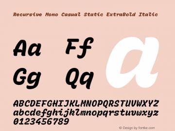 Recursive Mn Csl St XBd Italic Version 1.077;hotconv 1.0.112;makeotfexe 2.5.65598图片样张