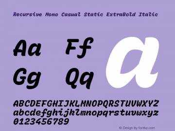 Recursive Mn Csl St XBd Italic Version 1.077;hotconv 1.0.112;makeotfexe 2.5.65598; ttfautohint (v1.8.3)图片样张